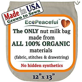 USA Reusable Organic Nut Milk Bag - The ONLY All 100% Organic Nut Milk Bag (See our: Fake Organic Warning) - Most Eco & All Natural Nut Milk Bag - Free Dairy-free Recipes, Videos, & Support