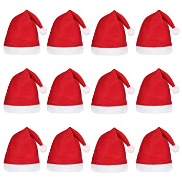 ac1e3b1417ecb Image Unavailable. Image not available for. Color  BESTOYARD 12PCS Christmas  Hat Fancy Dress Party Wear Hat Cute Santa Claus Hat Xmas Cap for