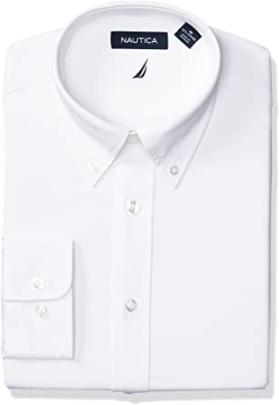 Nautica Mens Classic Fit Button Down Collar Oxford Dress Shirt Dress Shirt