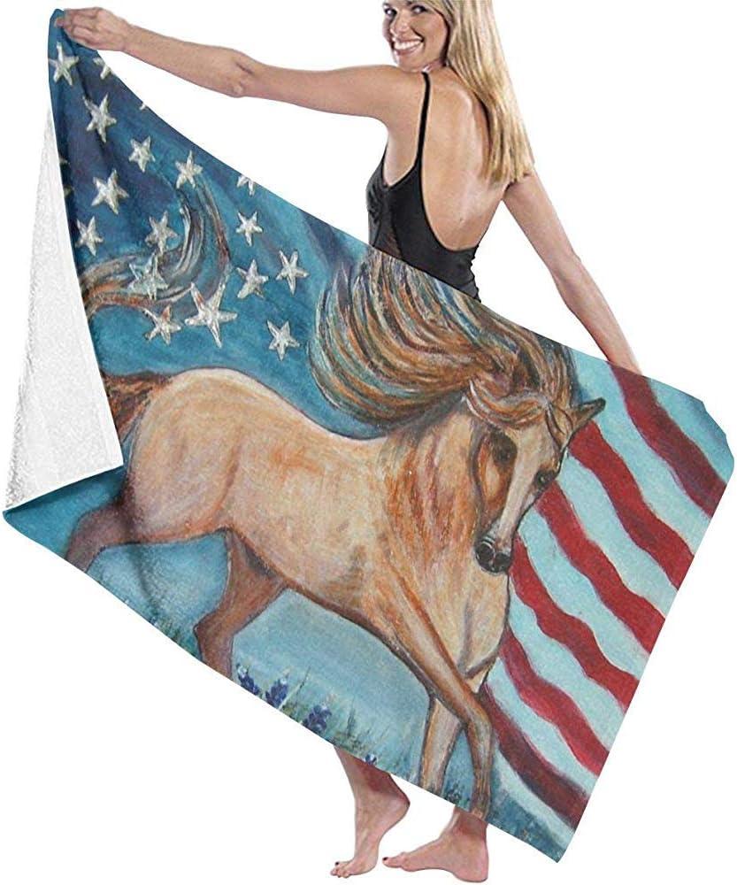 Olie Cam Toallas de Playa de Microfibra de Caballo con Bandera Americana Toallas de Piscina súper absorbentes de Secado rápido