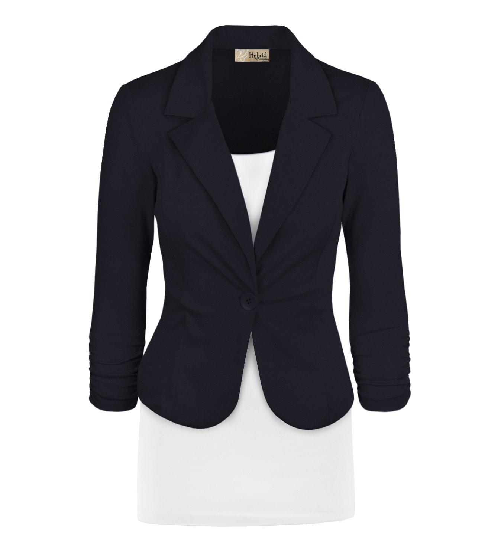 HyBrid & Company Women Double Notch Lapel Office Blazer JK1131 1073T Black L