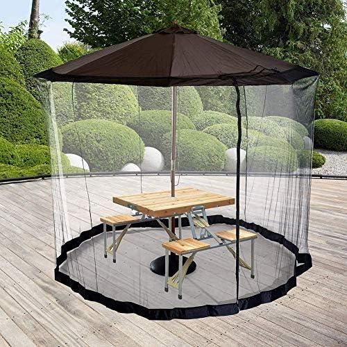 パラソル用HYLH蚊帳、屋外ガーデンパラソルテーブルスクリーン屋外パティオ傘防虫用蚊帳旅行用ホームパラソルをガゼボに変える