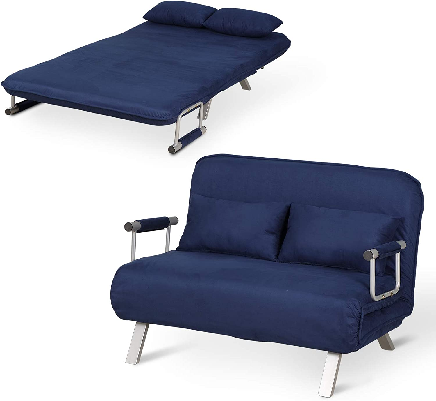 Amazon.com: HOMCOM Small Sofa Couch Futon With Fold Up Bed And Adjustable Backrest, Featuring Modern Design With Chic Suede, Blue: Furniture & Decor