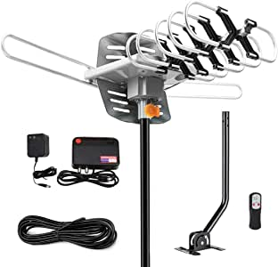 [Upgraded 2019] Amplified HD Digital TV Antenna - Outdoor HDTV Antenna 150 Mile Range Motorized with Adjustable Antenna Mount Pole for 2 TVs Support UHF/VHF/1080P Remote Control -33' Coax Cable