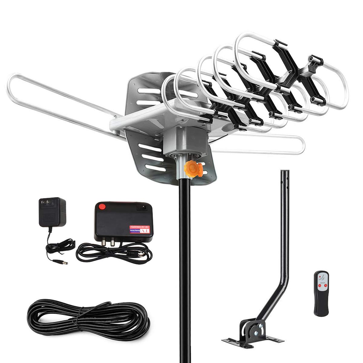 HD TV Digital Antenna -150 Miles Range w/ 360 Degree Rotation Wireless Remote - UHF/VHF/1080p/ 4K Ready with Mounting Pole - On Installation Support 2 TVs by Long store