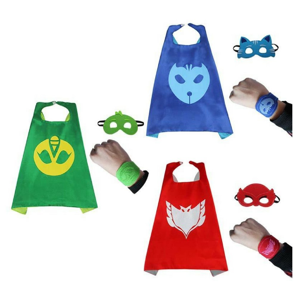 Bek Brands PJ Masks 3 Pack with Felt Bracelet Superhero Cape and Mask Set | Dress up Cape and Mask, Costume