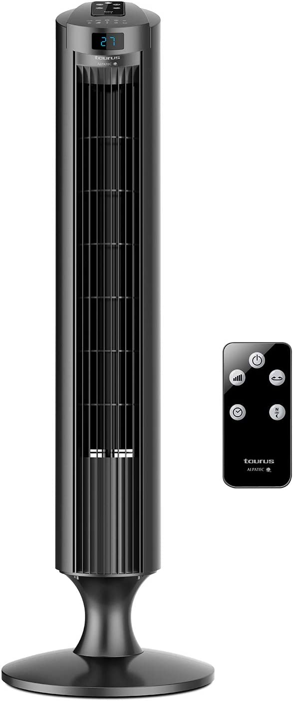 Taurus Babel RCH - Ventilador de torre digital extra alto, 84cm de altura, Indicador de temperatura, 3 velocidades, 3 modos, Temporizador 12h, Sistema de oscilación, Mando a distancia, Silencioso