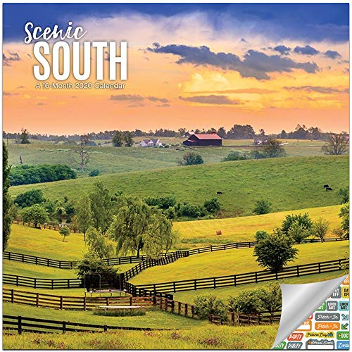 Scenic South Calendar 2020 Set - Deluxe 2020 Southern Places Wall Calendar with Over 100 Calendar Stickers (Southern States Gifts, Office Supplies) (Mississippi State Office Supplies)