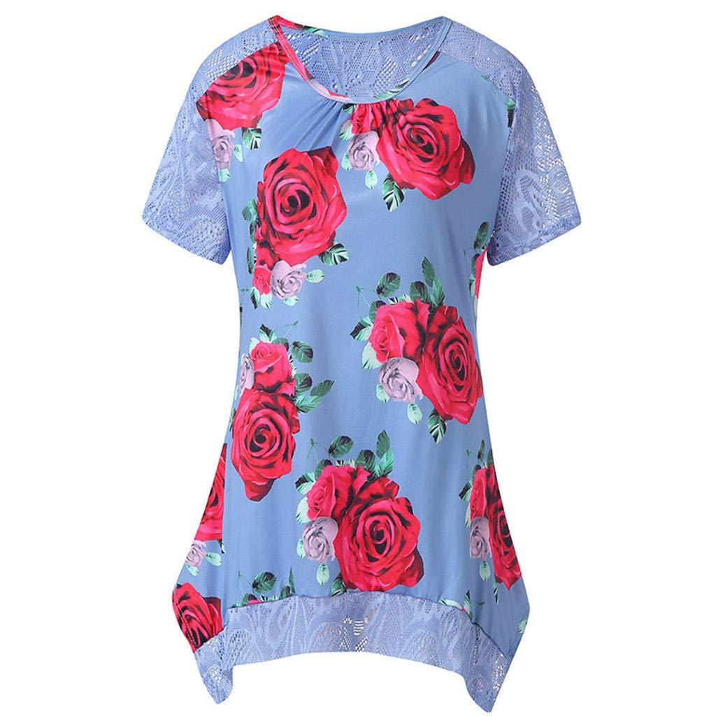 Vintage Boho Women Summer Sleeve Dress, Dianli Beach Floral Printed Short Mini Dress, Ladies Print Short Lace Panel Short Sleeve Dress