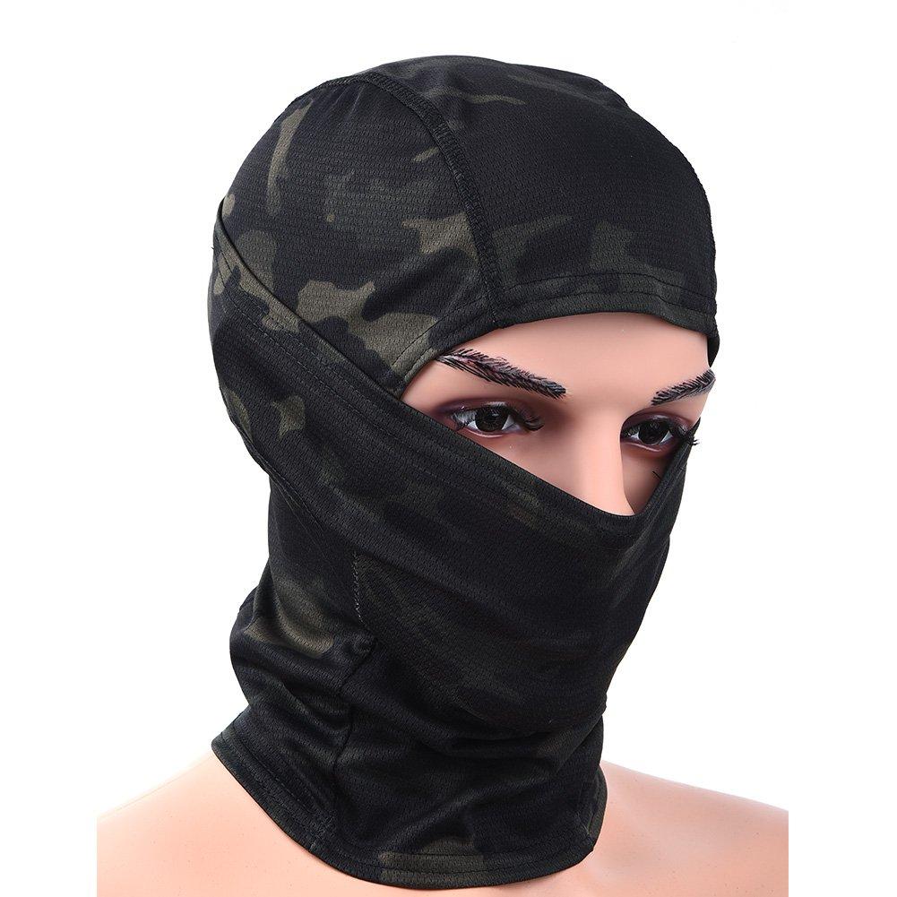 RUNACC Vollgesichtsmaske Unisex Winddichte Balaclava Warm Winter MaskeCS Kopftuch geeignet fü r Outdoor *Biwak*Skifahren*Radfahren* Klettern * Fahrrad*Wandern*Motorradfahren (Schwarz-B)
