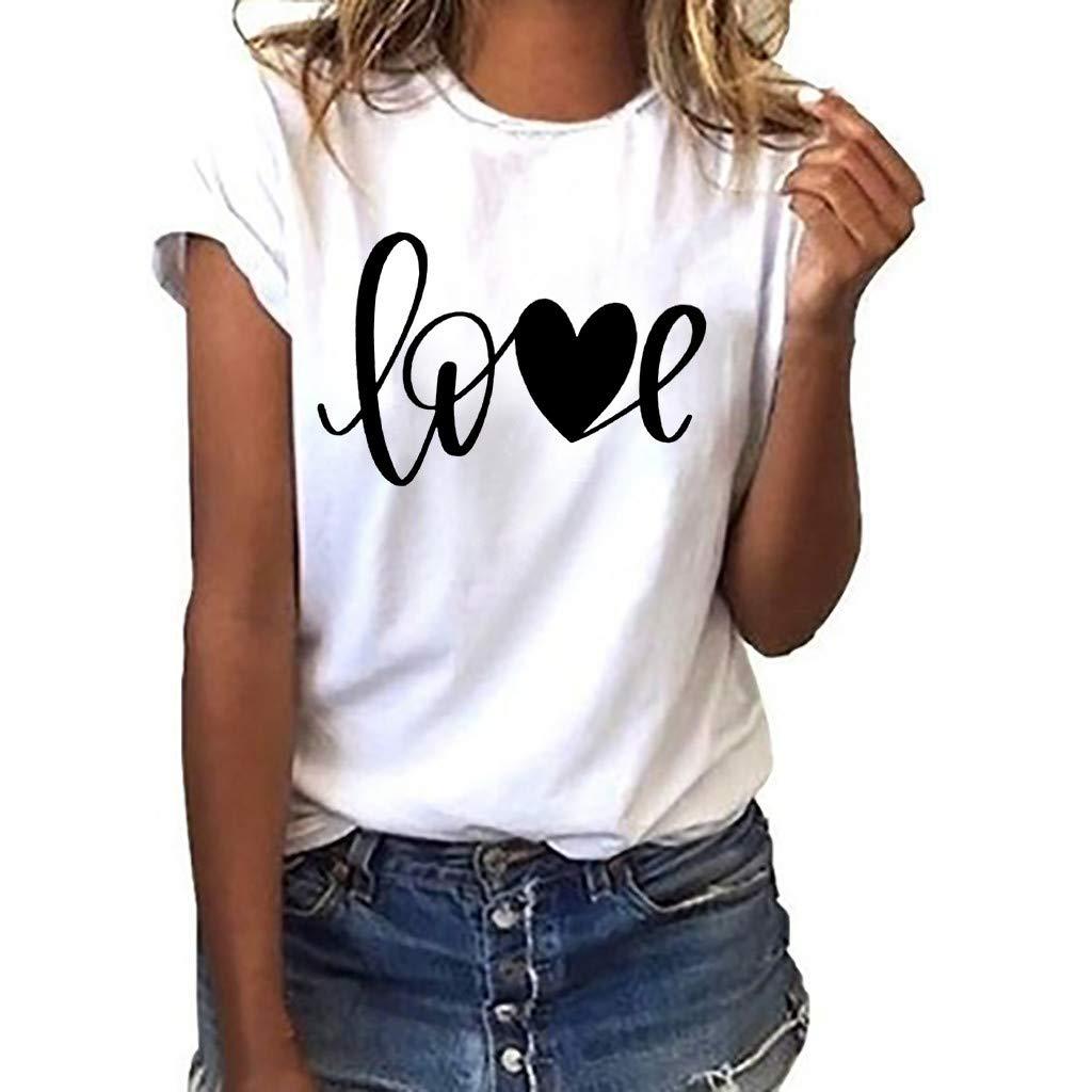 White T Shirt,Pocciol Women Girls Plus Size Print Tees Shirt Short Sleeve T Shirt Blouse Tops