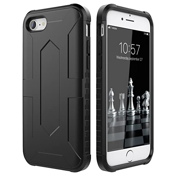 CinoCase iPhone 8 Case 2 in 1 Hard Case Dual Layer Hybrid Protection PC  Case with 3574cdc313d1
