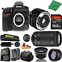 Great Value Bundle for D810 DSLR – 50MM 1.8D + 70-300MM AF-P + 16GB Memory + Wide Angle + Telephoto Lens + Case