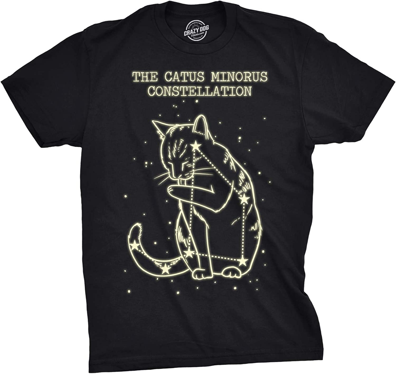 The Catus Minorus Constellation Glow in The Dark T Shirt Funny Cats Tee