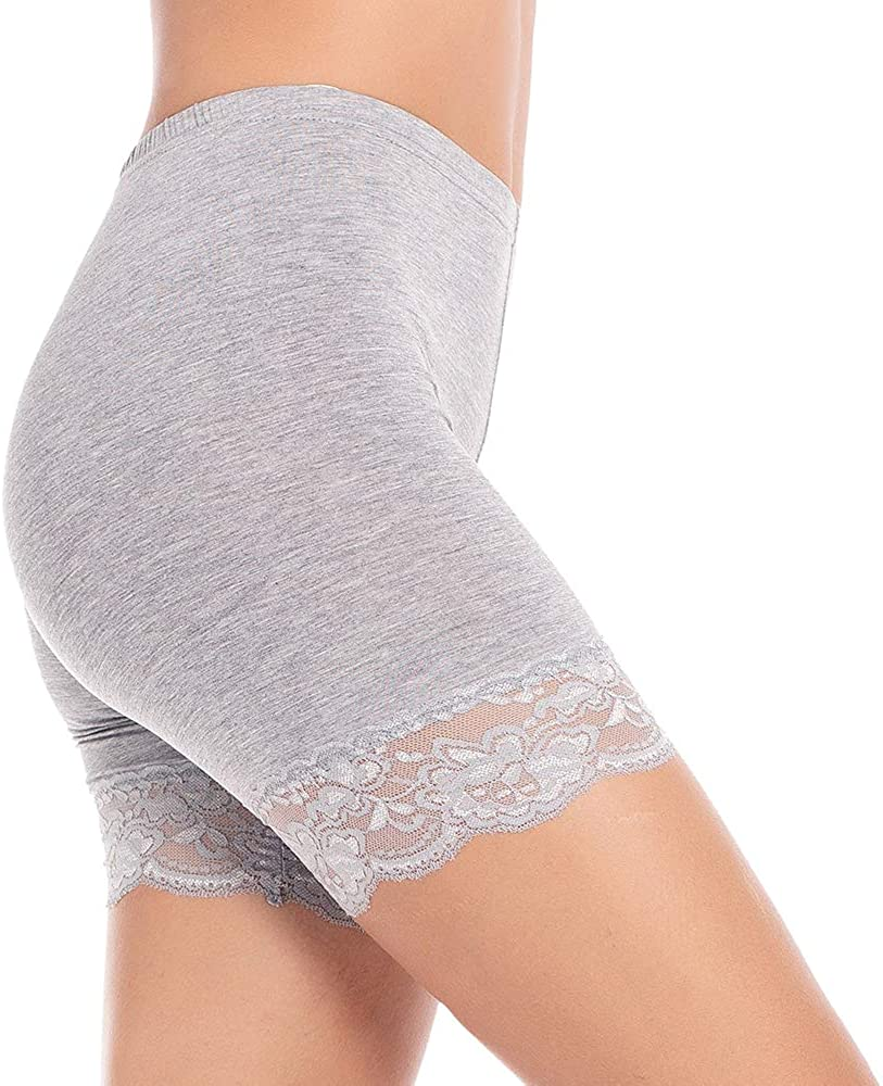 Subuteay Womens Slip Shorts for Under Dresses Legging Shorts with Lace Trim Mid Thigh Stretchy Undershorts