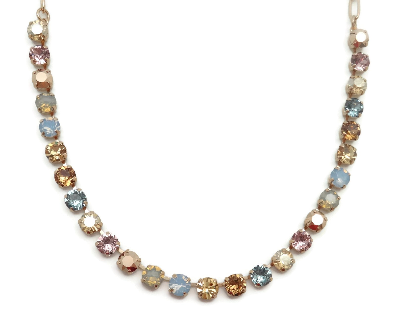 Mariana Rhapsode Rose Gold Plated Swarovski Crystal Necklace Brown Blue Mix 1092