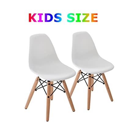 Buschman Set Of Two White Eames Style Kids Dining Room Mid Century Chair  Wooden Legs