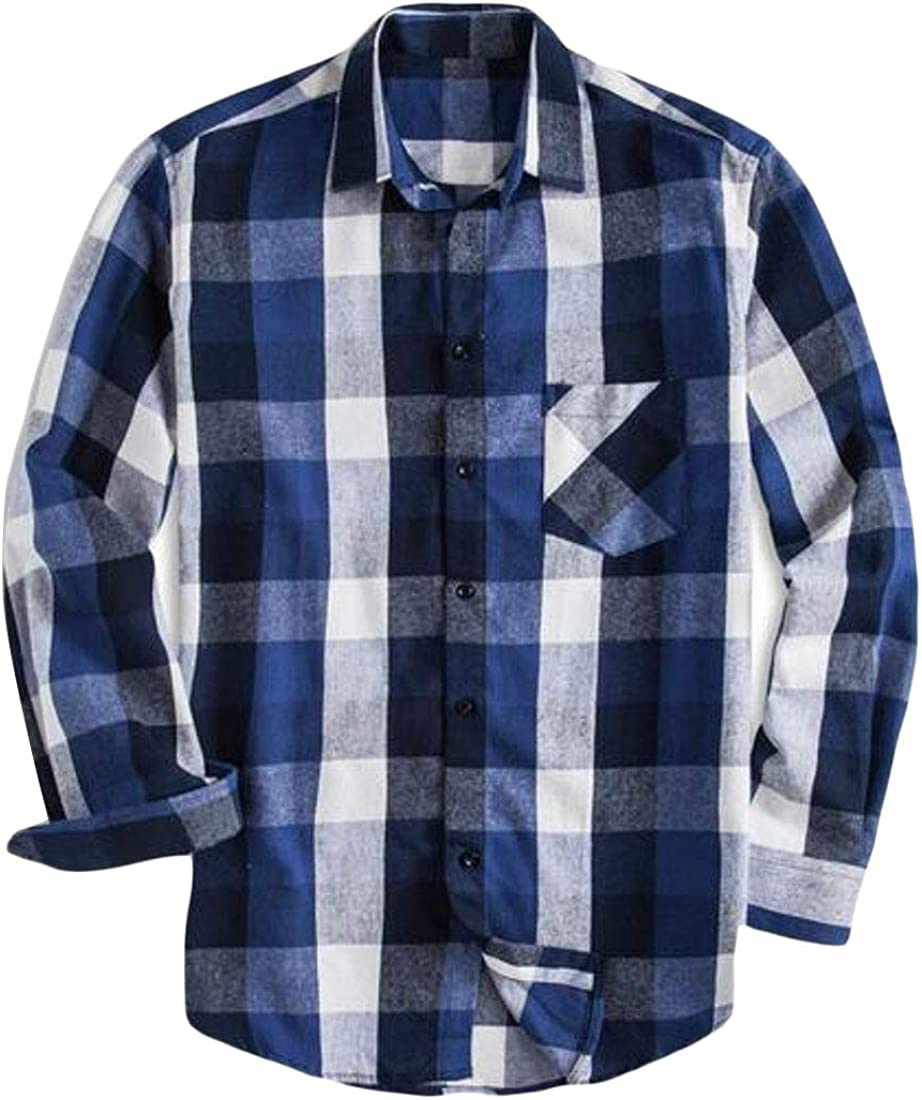 ARTFFEL Men Plus Size Big and Tall Casual Plaid Cotton Long Sleeve Loose Checkered Shirt