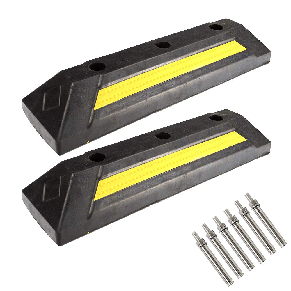 Genubi Industry 2 Pack Heavy Duty Rubber Parking Guide Parking Block Curb, Garage Wheel Stop Stoppers with Yellow Reflective Stripe, Professional Parking Target for Car, Truck, RV, Trailer by Genubi Industry