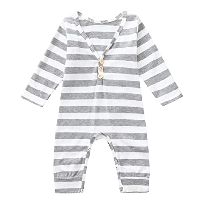 c21c41a0b74 Amazon.com   Franterd Little Girls Boys Romper Double Season ...