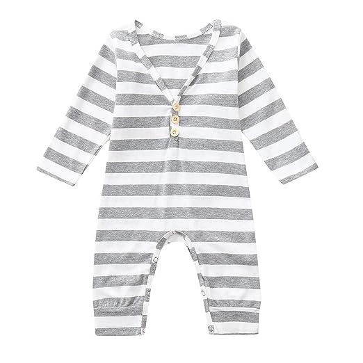 396cbecbe Amazon.com  VEKDONE Newborn Infant Baby Girl Boy Long Sleeve Striped ...