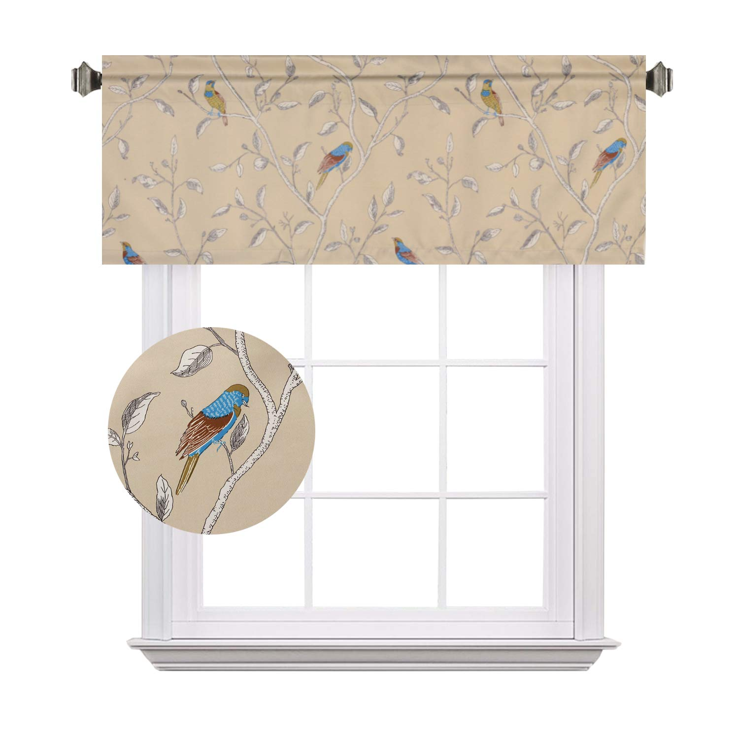 H.VERSAILTEX Birds Taupe Pattern Country Style Room Darkening Blackout Window Treatment Curtain Valance for Kitchen/Living Room/Bedroom/Laundry - Rod Pocket, 52 by 18 Inch