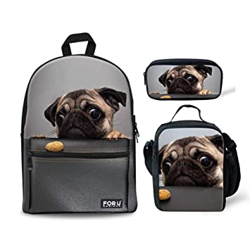 894983eb3a0a HUGS IDEA Pug Dog Printed Children Backpack Set School Bag with Lunchbag  Pencil Case