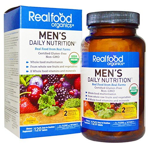 Daily Nutrition - Country Life Realfood Organics - Men's Daily Nutrition Multivitamin - 120 Easy-to-Swallow Tablets