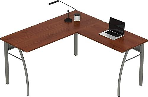 Best home office desk: Linea Italia Trento L-Shaped Corner Easy to Assemble Metal Desk | Computer Table