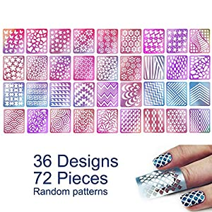 72 Pieces 36 Designs Nail Vinyls Stencil Sticker Set for Nail Art Decal, TailaiMei 12 Sheets Reusable DIY Hollow Nail Art Supplies