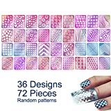 #4: 72 Pieces 36 Designs Nail Vinyls Stencil Sticker Set for Nail Art Decal, TailaiMei 12 Sheets Reusable DIY Hollow Nail Art Supplies