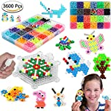 Fuse Beads Set, 3600 Pcs 36 Colors for Kids with Full Set of Tools Safe EVA Material Easy Creation Method Water Beads Kit