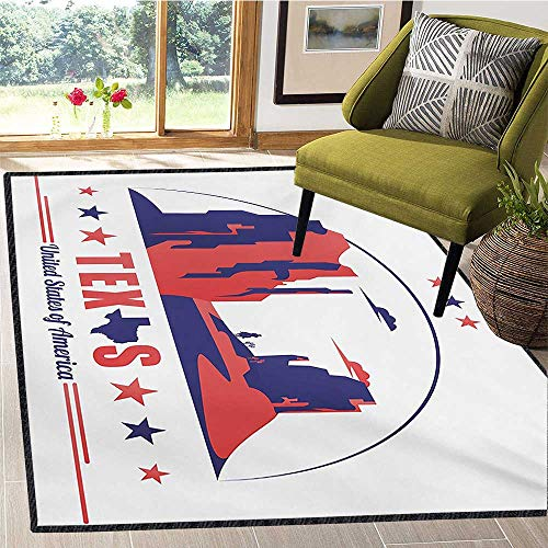 Texas Star, Door Mats Area Rug, Texas State Map with Cowboy Silhouette Among Canyons Desert Design, Floor Mat Pattern 5x7 Ft Indigo and Dark Coral