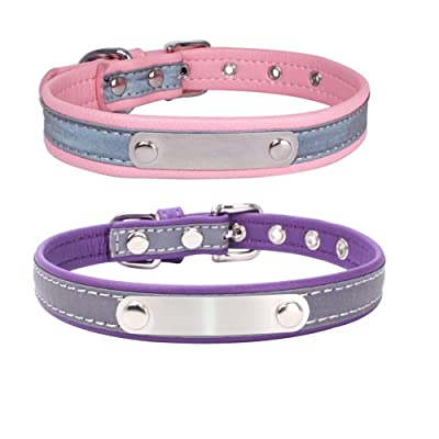 BONAWEN Small Dog Collar Reflective-Waterproof Padded Puppy Collar Boy Girl,Pack of 2