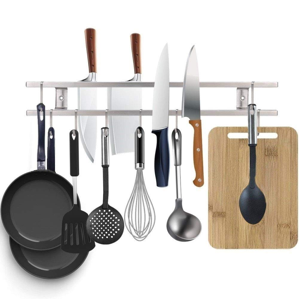 Magnetic Knife Strip 24 Inch,Double Bars with 10 Removable Square Hooks,Multi-use as Utensil holder, Knife Holder, Cookware Holder, Cutting Board Holder, Space Saving Organizer for Kitchen