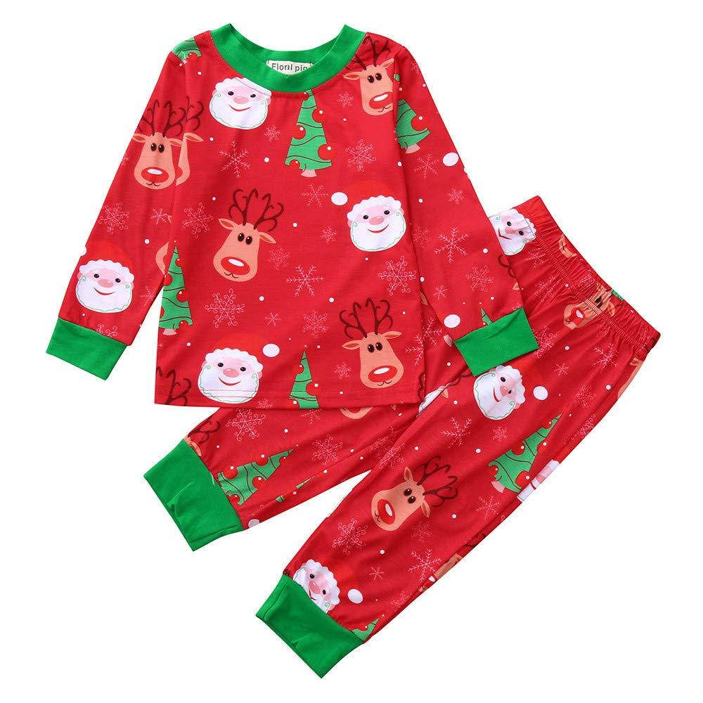2PCS Set, Top + Pantaloni, feiXIANG T-Shirt Stampa di Floreale Bambino e Ragazzi Neonato Outfit Set Tuta da casa per Bambini a Manica Lunga Ragazza e Bambina Pullover Felpe Felpa