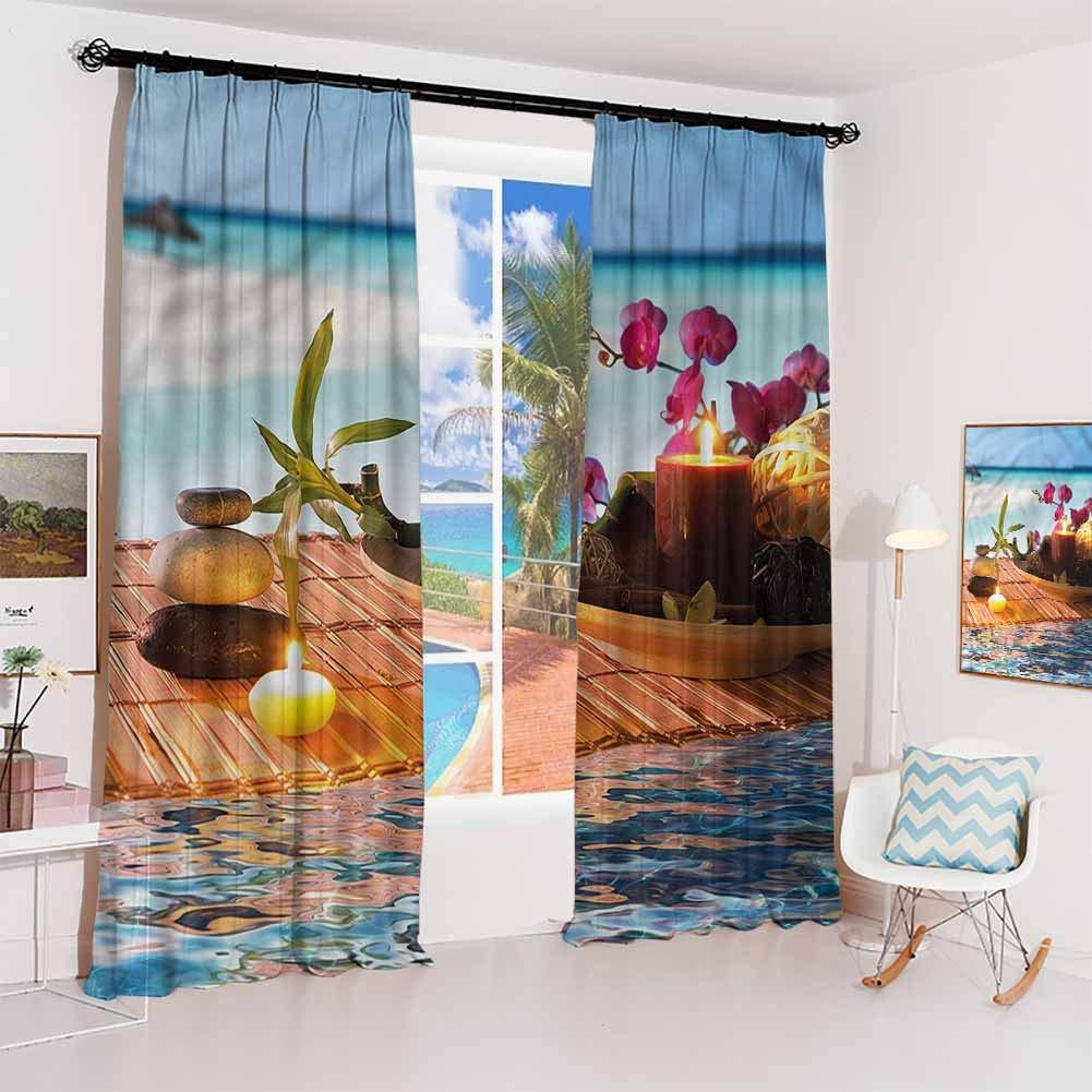 GUUVOR Zen Sunshade Sunscreen Curtain Spa and Meditation Elements Soundproof Shade W52 x L63 Inch