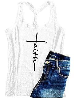 e1260bea421a02 Women Cross Faith Letters Print Racerback Tank Tops Sleeveless T-Shirt Cami  Tees