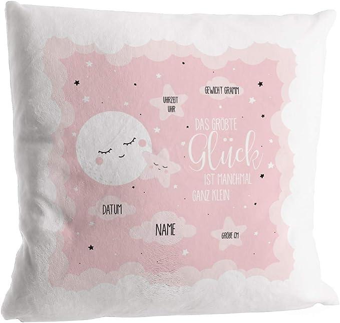 Babygeschenk oder Geburtskissen Striefchen/® Flausch-Kissen als Geschenk zur Taufe oder Geburt mit Foto