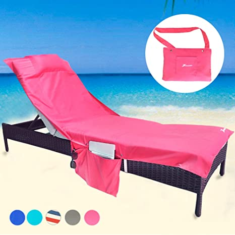 Captivating YOULERBU Beach Chair Cover With Pillow,Pool Lounge Chair Towel Beach Towel  With Convenient Storage