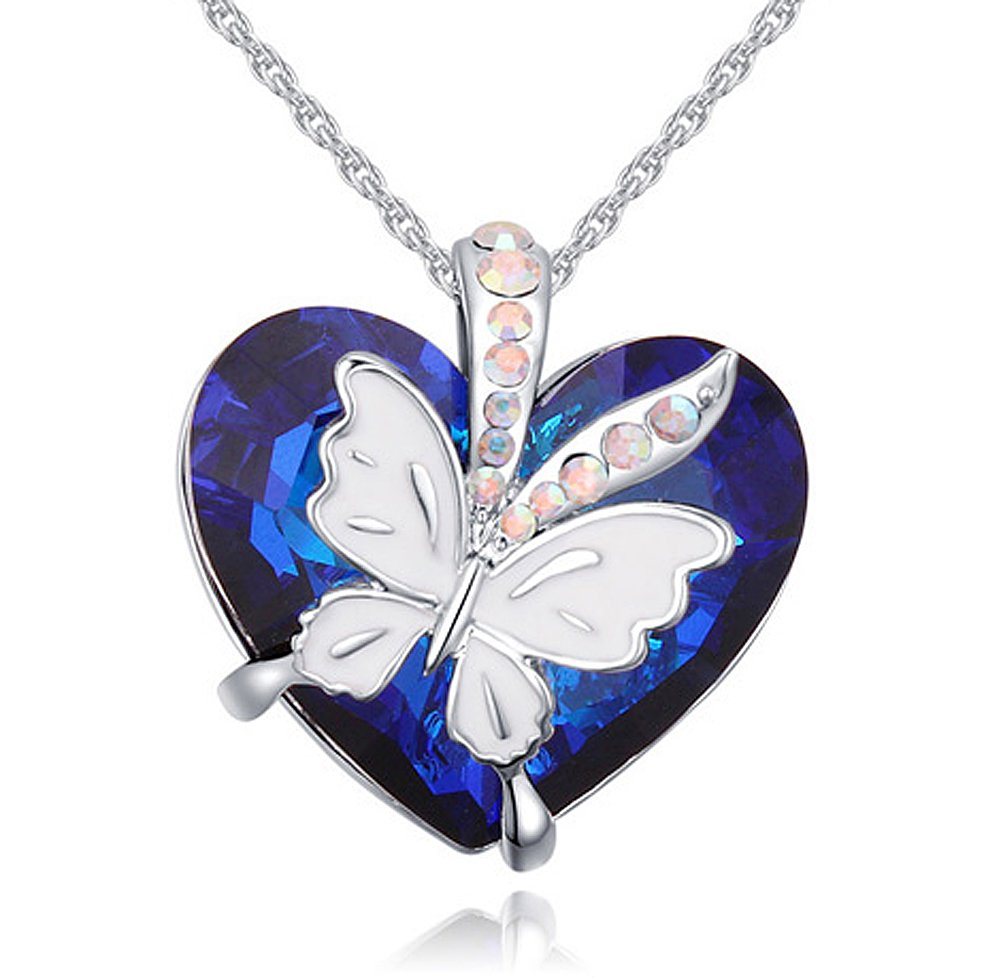 Acefeel Made with Swarovski Elements Blue Heart Crystals White Enamel Butterfly Women Jewelry Necklace N157