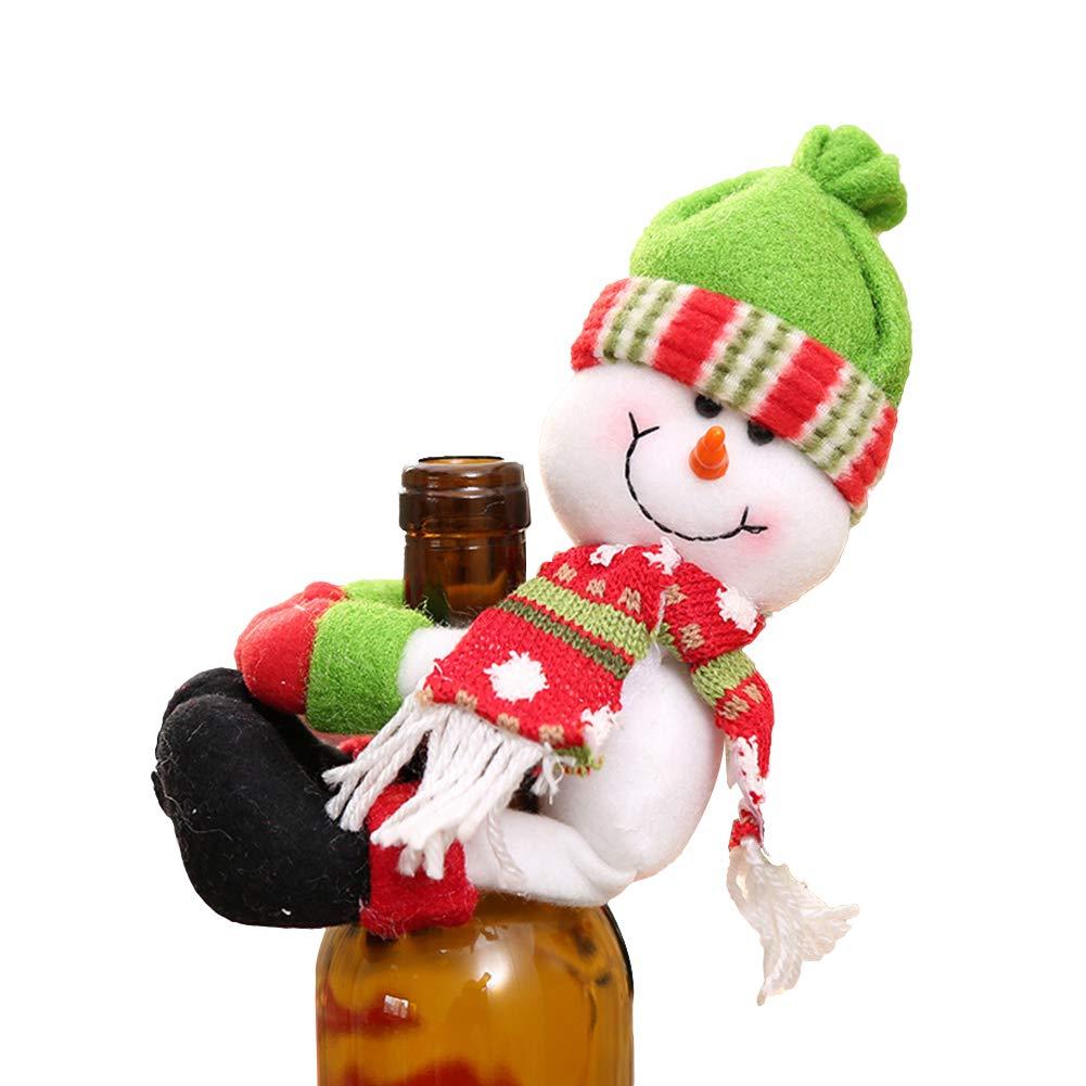 Bodhi2000 Bottiglia Natalizio a Forma di Babbo Natale con Bottiglia di Vino titolari Decorazioni per la Festa di Natale Decorazione Forniture Elf