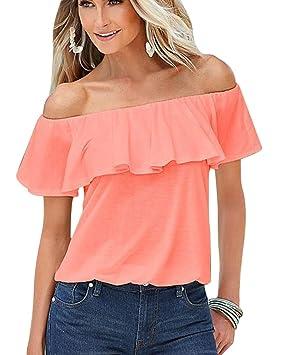 Mujer Camiseta Volantes Blusa Playa Hombros Descubiertos Elegante Solida De Manga Corta Tops Pink S