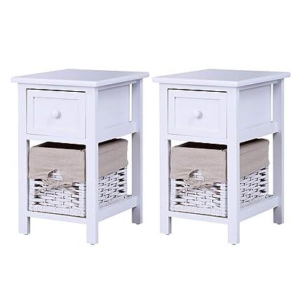 Amazon.com: Casart 2 Tier Nightstand Bedroom End Table Bedside ...