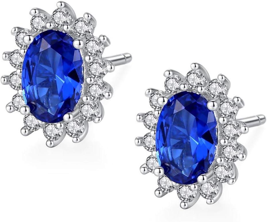 NOBRAND Piedra de Nacimiento Natural Zafiro Azul Oval topacio aretes 925 joyería de Plata esterlinaAdecuada para Mujeres Brincos