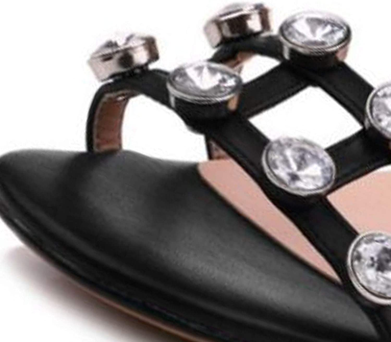 Women High Heel Sandals Square Toe Crystal Ankle Strap Fashion Women Summer Shoes Wedding Club Footwear,Black,12