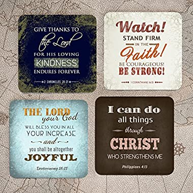 Inspirational Scriptures Hardboard Coasters | Set of 4 w/holder | Religious Inspirational Home Decor | InspiraGifts | Christian and Spiritual Gifts and Decor (3.75X3.75 Hardboard)
