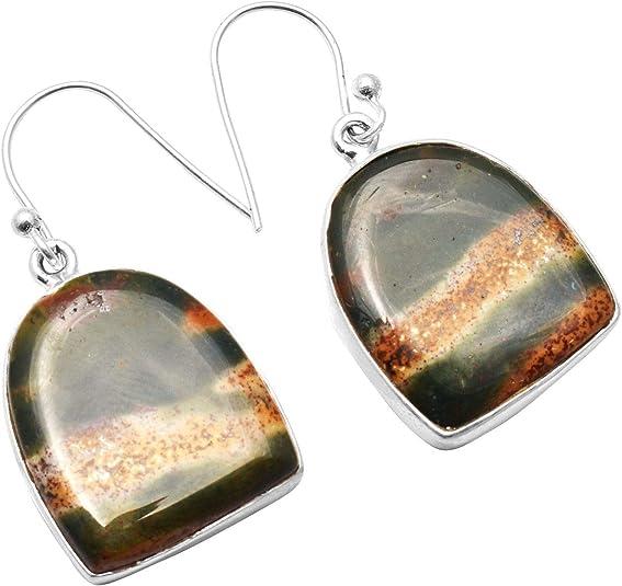 Bloodstone Earrings Sterling Silver Dangle Earrings Earrings AG520 The Siver PLaza