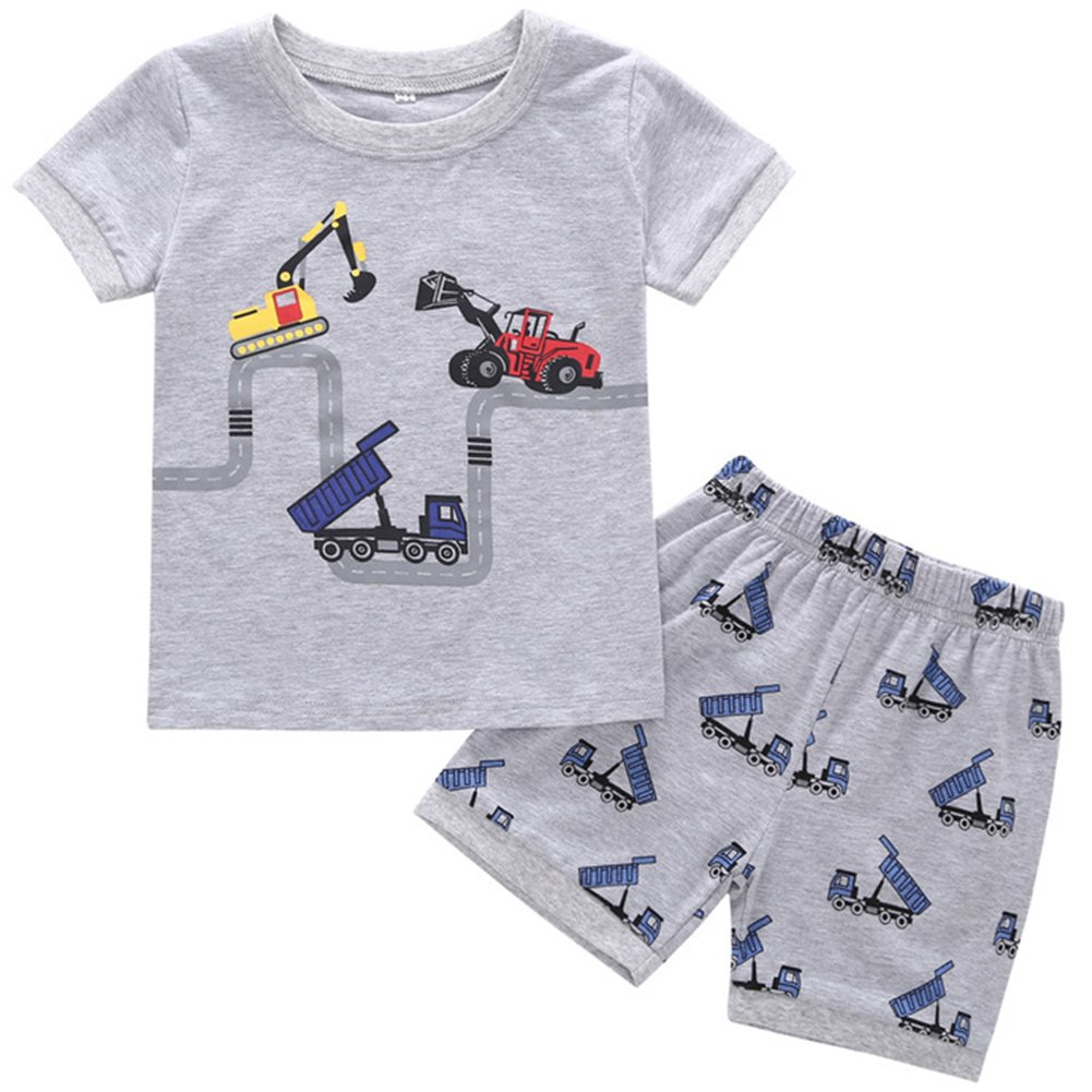 Toddler Boy Summer Clothes Outfit Kid Forklift Tee and Shorts 2 PCS Outfit Set 3T