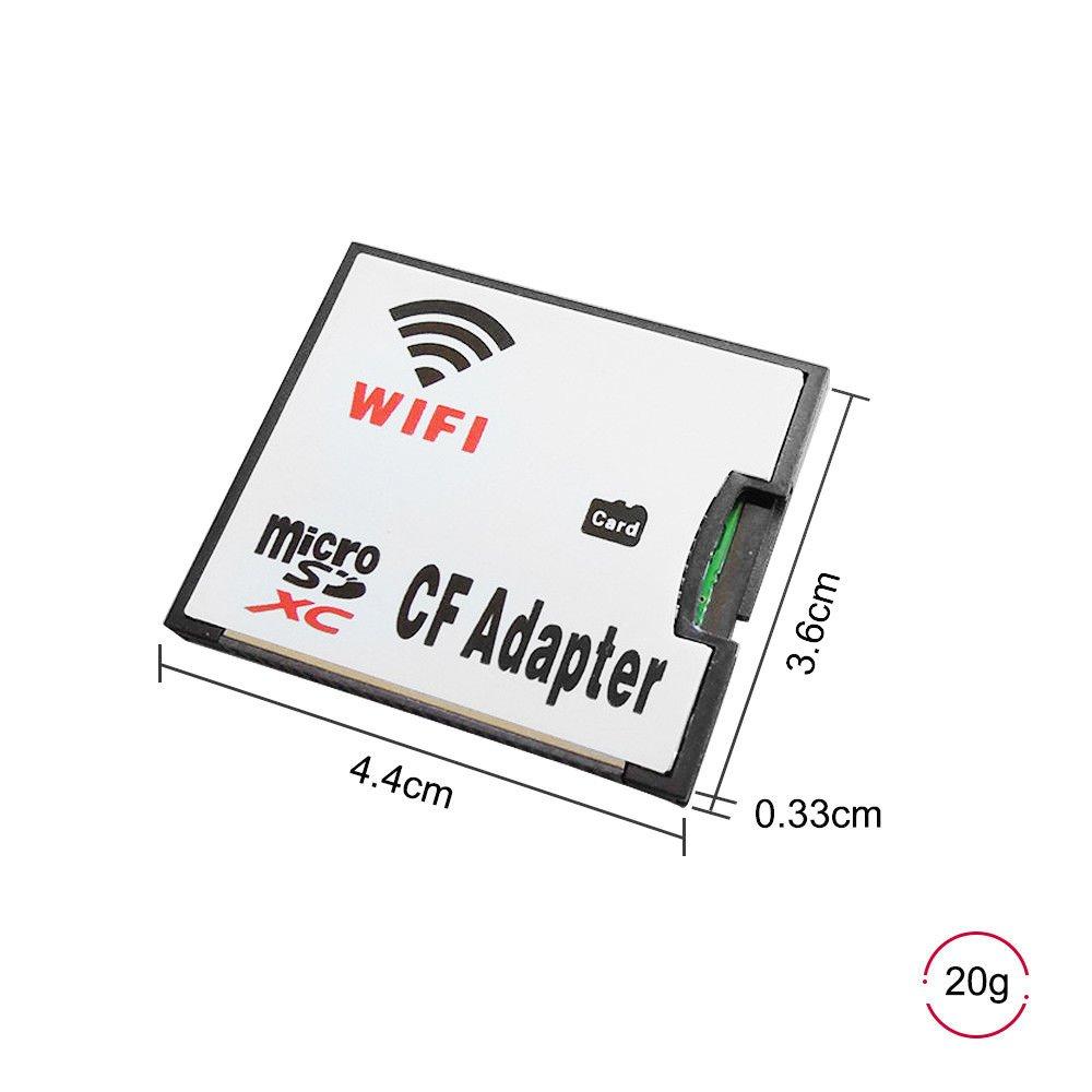 QUMOX Adaptador Tarjeta Micro SD TF a WiFi CF CompactFlash para cámara DSLR